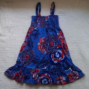 Old Navy small red, white, blue floral print dress
